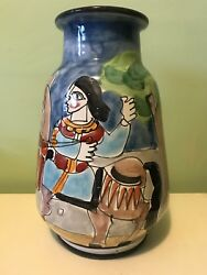 Vintage 1980s La Musa Vase Hand-painted Italy Made For Saks 5th Avenue