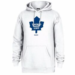 Toronto Maple Leafs Nhl Reebok White Primary Logo Jersey Crest Pullover Hoodie