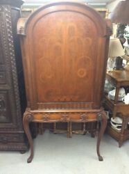Vintage 1930andrsquos Art Deco Burled Walnut Inlayed And Carved China Cabinet