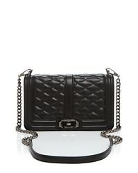 NWT Rebecca Minkoff Quilted LOVE Crossbody BLACK Leather Gunmetal Chain MSR $295