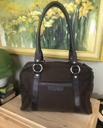 Ellington Dark Brown Shoulder Travel Women#x27;s Handbag Nylon Leather Bag $41.99
