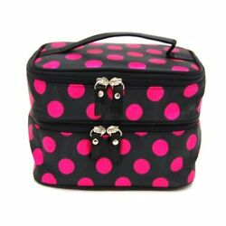 Small Cosmetic Makeup Organizer Bag Double Layer Toiletry Travel Bags w Mirror