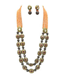 Babosa Sakhi Ethnic Antique Necklace Orange Onyx Beads Indian Kundan Jewelry Pa6