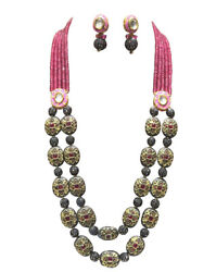 Babosa Sakhi Ethnic Antique Rani Haar Necklace Onyx Beads Indian Jewelry qo349