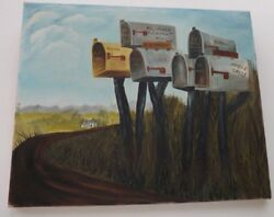 Original Painting Cluster Rural Mailboxes And Farmhouse In Pleasant Hill Missouri