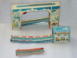 Parts Of Vintage Wind Up Tin Toy Train Station Railway Roller Coaster Ussr 1970s