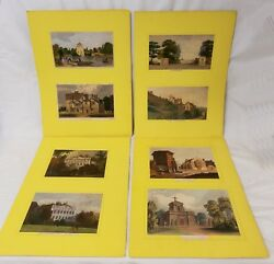 Set Of 8 Antique Hand Colored Engravings Of English Country Manor Houses