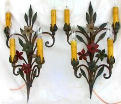 Wrought Iron Sconces Antique Converted To Electric And Rewired C.1900