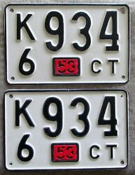 Connecticut 1953 License Plate Pair - High Quality K6 934