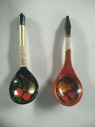 Antique Old Vintage Russian Soviet Union Ussr Painted Wooden Spoons 2 Pieces