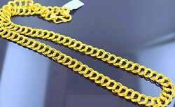 22k 22ct Yellow Gold Double Link Chain Necklace Stylish Gifting Jewelry Unisex