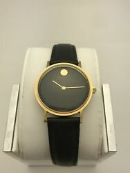 Movado Unisex Limited Edition 1994 Glove Leather Black Museum Dial Watch 1933775
