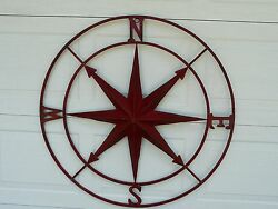 Primitive Vintage Style Red Distressed Metal Compass Country Home/wall Decor