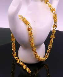 Vintage Authentic 22 K Gold Lotus Flower Chain Handmade Design Awesome Jewelry