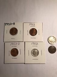 Coinlot Silver Dime Buffalo Indian Wheat Lot Exact Coins Pictured 8 1953pds