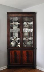 Stickley Gorgeous Flame Mahogany Mirrored Back Lighted Corner Cabinet