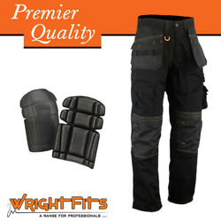 Men Cargo Work Trousers Black Holster Multi Pockets With Knee Pad - Wwapb
