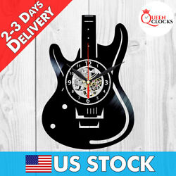 Guitar Rock Music Vinyl Record Wall Clock Decor Musician Instruments Jazz Gift