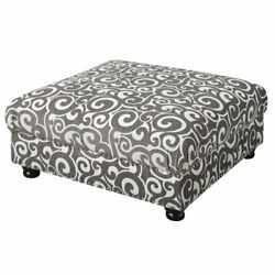 Picket House Furnishings Twine Square Ottoman In Slate Gray