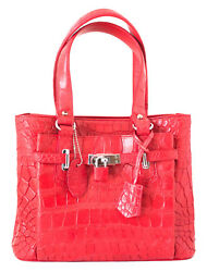 Authentic M Crocodile Skin Womens Belly Tote Hobo Bag Red Locked Handbag