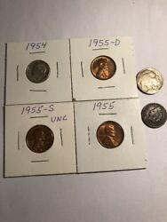 Coinlot Silver Dime Buffalo Indian Wheat Lot Exact Coins Pictured 5 1955pds