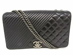 Auth Chanel Coco Boy Chain Shoulder Bag SHW Calfskin Leather Black 8460