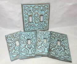 5 Blue and gold scroll pattern light switchplate covers. Double single