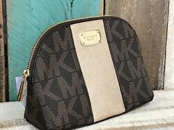 NWT Michael Kors Brown Signature Gold Center Stripe Travel Cosmetic Pouch Bag