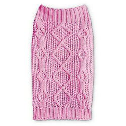 Petco Bond and Co Pink Classic Cable Knit Sweater for Dog