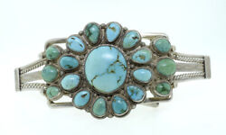 Native American Benedict Sterling Silver Blue Green Turquoise Large Belt Buckle