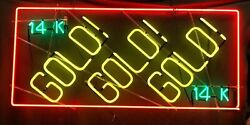Jewelry Business Buy Scrap Gold Pawn Shop 14 K Gold Gold Gold 3 Colors Neon Sign