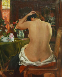 Aloys HUGONNET Swiss post-impressionist oil painting naked woman nude interior