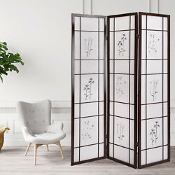 BN 3 Panel Folding Shoji Room Screen Divider with Flowered Pattern Privacy New