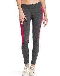 NEW Barrel Women#x27;s Side High Leggings Heather Gray with Magenta Panel Size L $84 $18.38