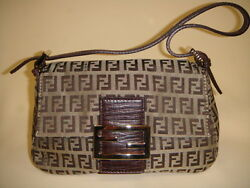 FENDI Monogram Zucchino Print Mini Momma wBrown Leather Baguette Handbag A 9.5