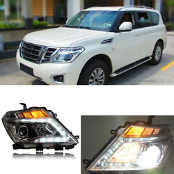 Xenon Headlight assembly LED DRL Turn Light for Nissan Patrol Y62 2010-16
