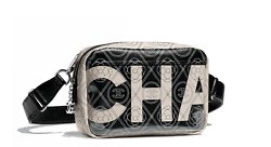 BNIB Chanel Runway Large Black & Beige PVC Camera Case with Black Strap