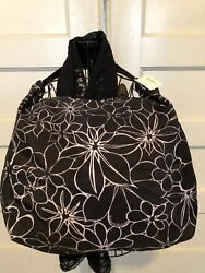 Neiman Marcus Beach ToteBag Signature Floral Print Leather Strap Pink Lined NWT