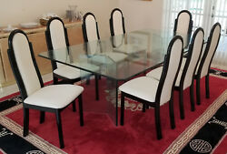 Set Of 8 Vintage 80and039s Italian Black Lacquer Wood Dining Chairs