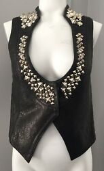 Authentic Thomas Wylde Studded Leather Vest With Printed Lining