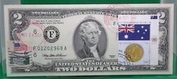 2 Dollars 1995 Frn Stamp Cancel Coin And Flag Of Australia Lucky Money 125