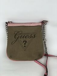 Vintage Guess Logo Womens Leather Small Messenger Bag Cross Body Pink Brown
