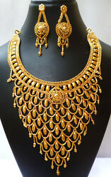 22k Gold Plated Indian Designer Gorgeous Fancy Bollywood Necklace Earrings Set