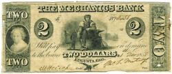1858 The Mechanics Bank Augusta, Georgia Obsolete Currency Note Vg Condition