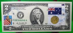 2 Dollars 2009 Frn Stamp Cancel Coin And Flag Of Australia Lucky Money 125