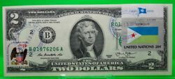 Us 2 Dollars 2013 Frn Stamp Cancel Flag Of Djibouti Lucky Money Value 125