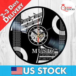 Music Notes Staff Guitar Musician Instruments Vinyl Record Wall Clock Decor Gift