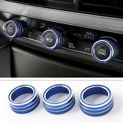 3Pcs Blue Air Conditioner&Audio Knobswitch Ring Cover Trim For Honda Accord 2018