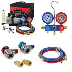 Air Vacuum Pump HVAC AC Refrigeration Kit 3CFM or 4CFM Manifold Gauge Tool Set