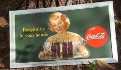 1949 Vintage Green Coca Cola Hospitality In Your Hands Framed Sign 3' X 1' 8